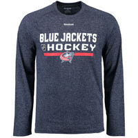Men's Reebok Navy Columbus Blue Jackets 2015 Center Ice Locker Room Supremium Performance Long Sleeve T-Shirt
