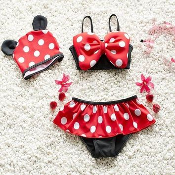 Childrens Swimsuit Cute Baby Girl Cute Swimwear Big Bow Black Red Dots Big Bow Bikini Two Piece Swimming Suit+Hats For Children E5088 KO_25_2