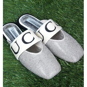 GUCCI Spring Summer New Popular Women Water Drill Flat Sandal Slipper Shoes Silvery I12238-1
