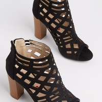 Black Diamond Cutout Stacked Heel | Booties | rue21