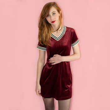 90s Sporty Spice Mini Dress Velvet Wine Red Oxblood Maroon Burgundy Black and White Stripe 579 Deadstock