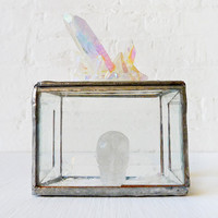 Beveled Glass Jewelry Box with Skull Guardian and Rainbow Quartz Mica City