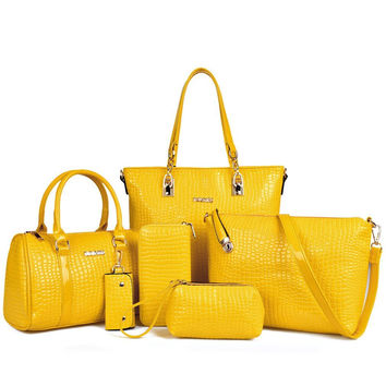 Crocodile Pattern Patent Leather Leatherette Shoulder Handbags Clutches