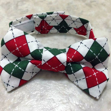 Holiday Argyle Boy Bow Tie Green, White and Red. Holly Jolly Christmas
