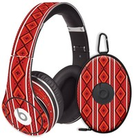 Red and White Tribal Decal Skin for Beats Studio Headphones & Carrying Case by Dr. Dre