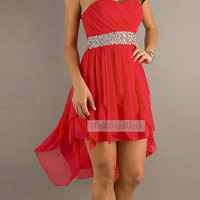 Red Prom Dress high low chiffon Dresses
