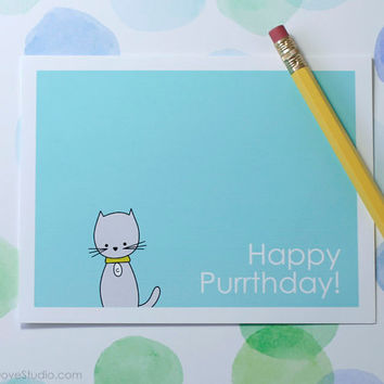 Cat Birthday Card Happy Birthday Card Pun Birthday Card Fun Card Pun Card Friend Birthday Card Blank Birthday Card Handmade Birthday Card