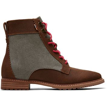TOMS - Women's Nolita Brown Waxy Suede Dusty Olive Washed Canvas Boots