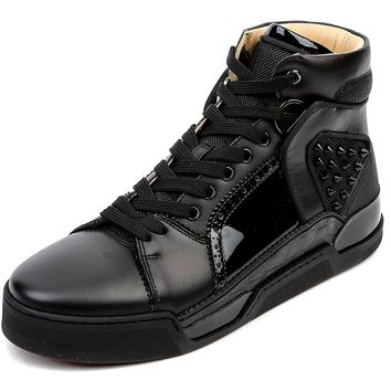 Wiberlux Christian Louboutin Men's Spike Stud Accent High Top Sneakers