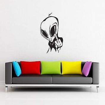 Wall Stickers Allien Show Middle Finger Funny for Living Room Unique Gift z1293