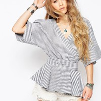 Glamorous Wrap Front Top In Stripe