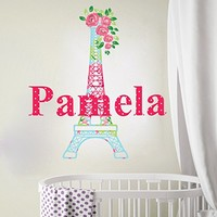 Eiffel Tower Personalized Name Wall Decal Paris Full Color Vinyl Sticker Mural for Nursery Girls Name Colorful SD3