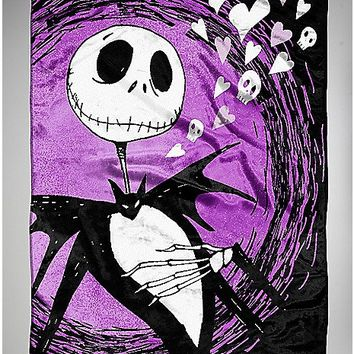Nightmare Before Christmas Jack Hearts Fleece Blanket - Spencer's