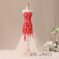 Red sweetheart neckline mermaid ruched red lace tulle  prom bridesmaid dress evening dress ET260