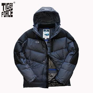 TIGER FORCE Men Fashion Down Jacket 70% White Duck Down Winter Warm Hooded Down Coat Patchwork Rib Cuff Free Shipping D-473
