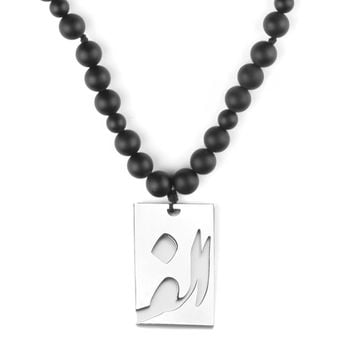 Matte Onyx and Hematite stone with stainless steel Nastaliq sign macrame necklace
