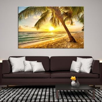 36804 - The Palm Tree on the Beach with the Sun Canvas Print