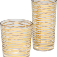 DwellStudio Gold Ribbons Drinking Glass - Two Sizes