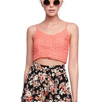 Lush Eyelet Crop Cami - Womens Shirts - Orange - Large