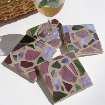 Glass Mosaic Coasters Purple Earth Tones Garden Colors Pastel Decor Drinkware