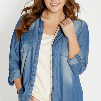 plus size chambray button down shirt with two pockets | maurices