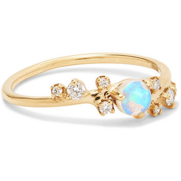 Wwake - 14-karat gold, opal and diamond ring