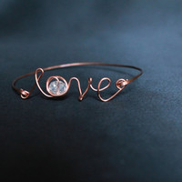 Love Bracelet, Copper Bangle bracelet, Glass beads, metal jewelryhandmade luxe style