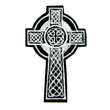 Celtic Cross Tombstone Patch Iron on Applique Occult Clothing