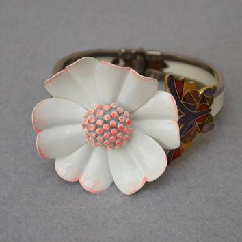 Floral Butterfly Assemblage Cuff Bracelet from Vintage Components