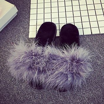 Feather Furry Open Toe Flat Mules Sandals Slippers Sliders