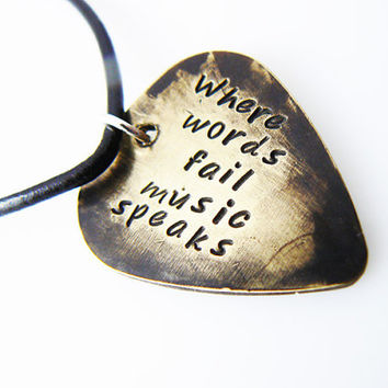 "Hand Stamped & Antiqued Copper Guitar Pick Necklace - ""Where words fail music speaks"" key chain with name / date"