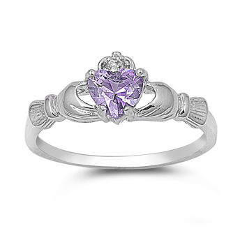 925 Sterling Silver CZ Love Loyalty Friendship Claddagh Simulated Alexandrite Ring 9MM