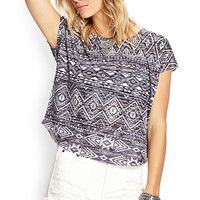 FOREVER 21 Southwestern Print Tee Charcoal/White Large