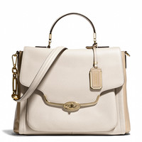 MADISON SADIE FLAP SATCHEL IN SPECTATOR SAFFIANO LEATHER