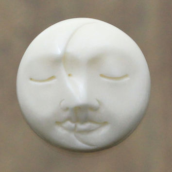 Sculpted Faces - Moon, Sleeping Eyes Close - Flat Back, Handcarved Cabochon 20mm