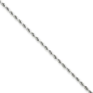 1.5mm, 14k White Gold, Diamond Cut Solid Rope Chain Anklet or Bracelet
