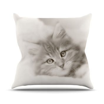 "Monika Strigel ""Main Coon Kitten"" Gray Cat Throw Pillow"