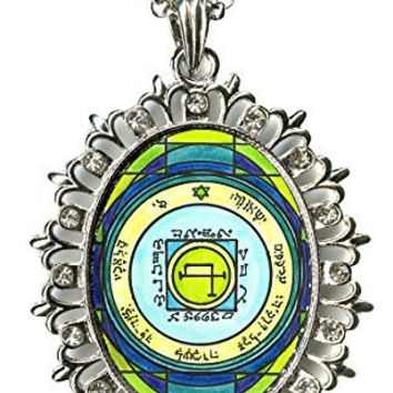 Solomons 5th Sun to Quickly Transport Anywhere Huge Silver Medallion Rhinestone Pendant