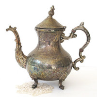 Vintage Silver Plate Teapot - Scroll Design - Heavy Patina