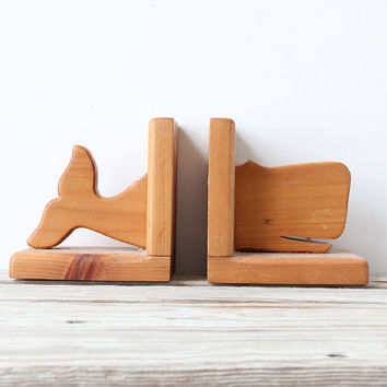 Folk Art. Large Wooden Whale Bookends