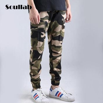 SOULLAB Quality mens bottom jogger pant camo camouflage cargo slim fit skinny skate skateboard trousers cotton hype boys clothes