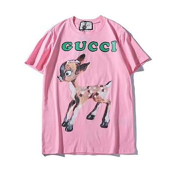 GUCCI 2019 early spring new classic letter deer printed short-sleeved T-shirt Pink