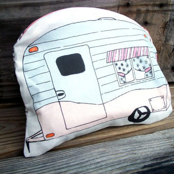 SALE Airstream Cosmetic Bag  Zipper Pale Pink and Sky Blue Large Pouch FRONT PAGE item
