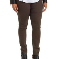Plus Size Olive Colored Skinny Jeans by Charlotte Russe