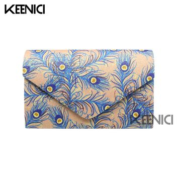 Peacock Feather Print Woman Evening Bag Female Rhinestone Luxury Ladies Day Clutch Wedding Party Banquet Clutch Bolsas Feminina