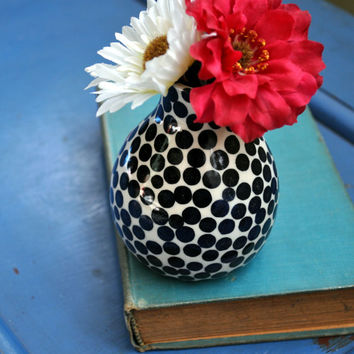 """Bud Vase- Black and White with One Red Dot- """"Be Yourself"""" Design"""