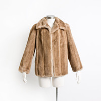 Vintage 60s Faux Fur Coat - Brown Long Sleeve Hip Length Jacket 1960s - Medium