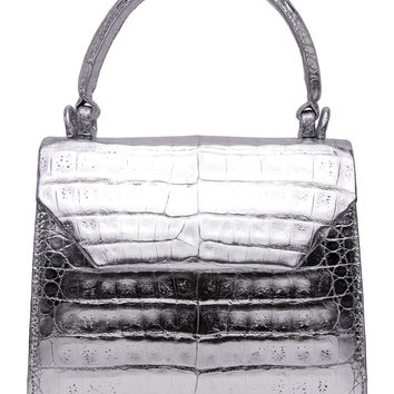 Metallic Silver Croc Top Handle Bag