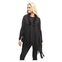 Black Soft Cable Knit Faux Fur Trim Tassel Fringe Vest