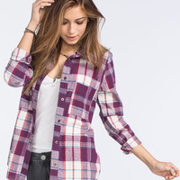 Full Tilt Johnny Womens Boyfriend Flannel Shirt Multi  In Sizes